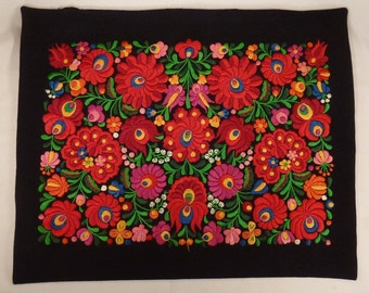 EMBROIDERED  Floral bouquet  Pillow Cover Hand Embroidered ,handcrafted Folk Art 23x18 black felt stunning