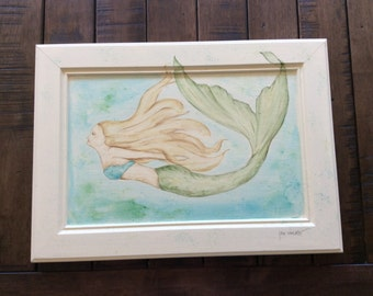 Original OOAK watercolor mermaid swimming painting