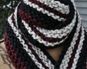 Chunky Knit Scarf - Long Striped Mens Scarf - Womens Warm Winter Scarf - Ladies Wool Scarf - Teen Scarf - Burgundy Red - Oatmeal Tan - Black