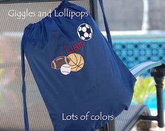 Boys girls personalized sports cinch sac backpack cinch sak