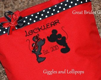 Personalized extra large Disney anniversary wedding bride tote bag Mickey or minnie mouse