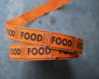 Vintage Food Tickets, Length of 100, Black and Orange, Carnival Tokens, Halloween Party Supply, Autumn Entertaining | Midway Tickets