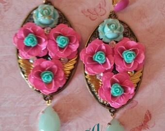 hOT Pink crystal swarovski earrings  Boho