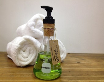 Pyrex spearmint hand soap in science flask