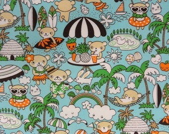 Kawaii Anime Kawaii Beach Bear in Aqua Japanese Fabric - 1 Yard