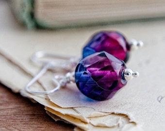 Glass Earrings, Drop Earrings, Purple Glass, Fuchsia Pink, Dangle Earrings, Sterling Silver, Purple Earrings, Pink Earrings, PoleStar