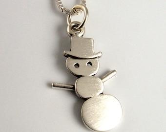 Tiny snowman necklace / pendant