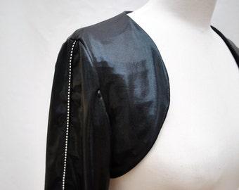 Black shiny shrug tiny studs on sleeves stretchy Sz Medium my original design hand made