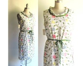 Embroidered Sun Dress / Vintage 1960s Dress / Mad Men 60s Dress / with Tags Sheath Shift / Garden Party Dress / Medium