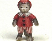 cat figurine collectable, miniature cat sculpture, cat in sailor suit, Chris Okubo Originals