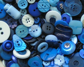 Plastic buttons mixed Blue colours bag of different sizes plastic button 50g, 100g, 250g or 1kg