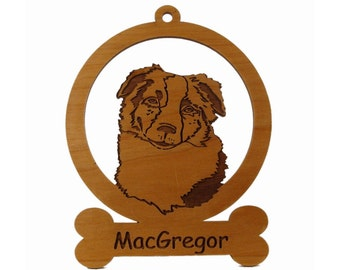 Austrailian Shepherd Head Ornament 081385 Personalized With Your Dog's Name