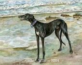 Greyhound Dog Art Print - Seaside Illustration