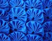 30 solid Blue 2 inch Yo Yo Fabric Quilting Applique Trim Barrette Hair Clip Trim Headband