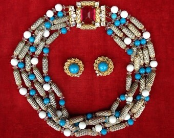 Designer Scaasi Necklace and Earring Demi Parure Set