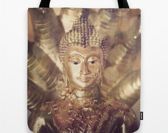 Buddha Tote Bag Handbag - Buddha Print  in Small, Medium, & Large all Gold Tones - Reusable
