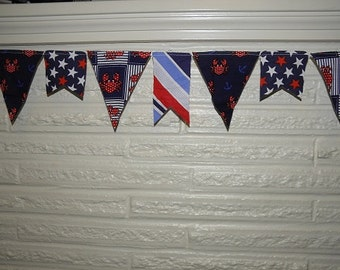 Nautical Banner Scrappy Bunting - Red White and Blue
