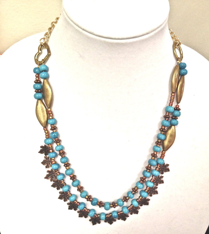 women beaded jewelry handmade boho blue arizona by fatash1