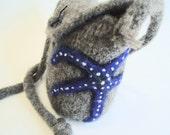 Blue Starfish Felted Wool Handbag