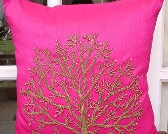 "Luxury Fuchsia Pink Pillows Cover, 16""x16"" Silk Pillows Cover, Square  Beaded Tree Pillow Covers - Fuchsia Tree Of Life"