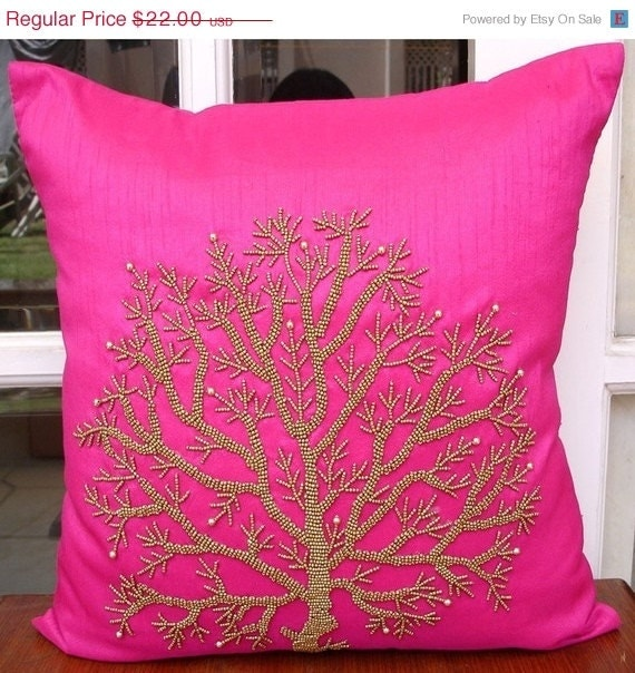 "Luxury Fuchsia Pink Pillows Cover, 16""x16"" Silk Pillows Cover, Square  Beaded Tree Pillow Covers - Fuchsia Tree Of Life"