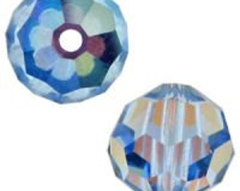 September birthstone 8mm Light Sapphire AB Swarovski crystal beads Style 5000, Qty 3
