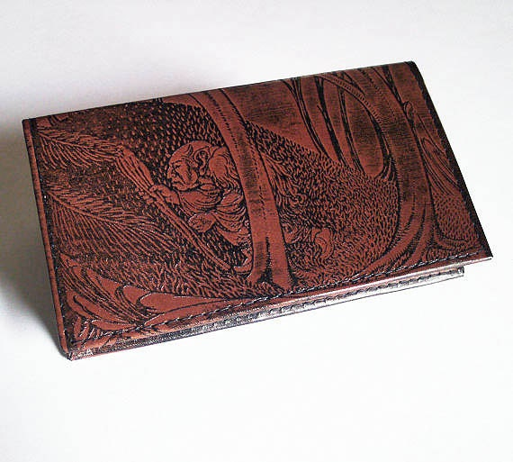 Leather Checkbook Cover With Troll Design