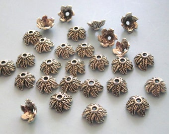 40 Pieces of Antiqued Silver Color Leave Bead Caps