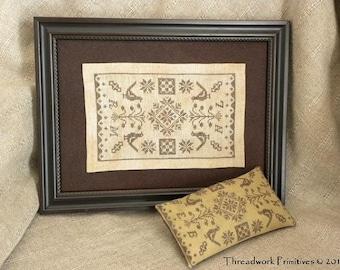 Primitive Cross Stitch Pattern - Quaker Friends