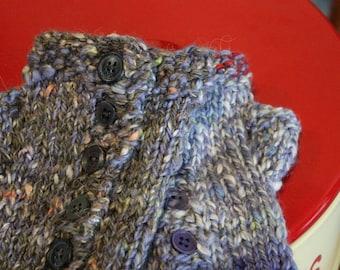 Hand spun, hand knit fingerless mittens
