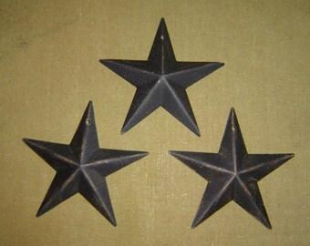 "Primitive Tin Distressed Black Barn Star Craft Supply Set/3 3.5"""