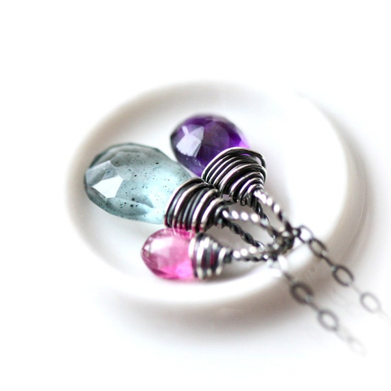 Wire Wrapped Trio - Moss Aquamarine Purple Amethyst Pink Tourmaline Briolette Sterling Silver Necklace