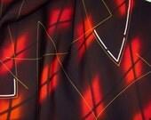 Vintage Japanese Kimono Silk Retro Abstract Geometric Diamonds and Lines 60ins