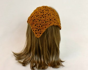 Hair Bandana Kerchief Crochet Gold Head Scarf Rockabilly Cover Orange Tie Lace Triangle Headband Band Head Scarf Bronze