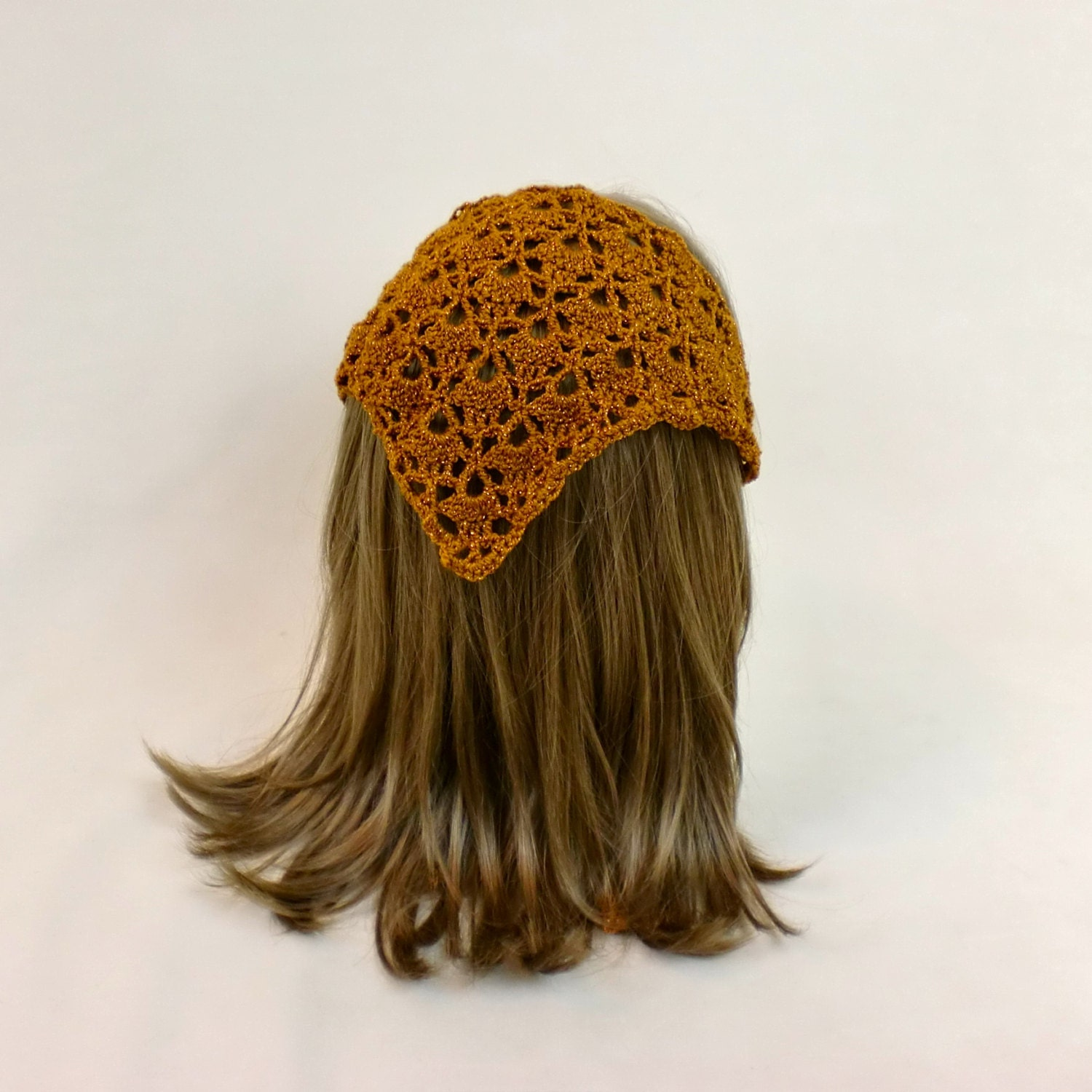 Knitting Pattern Triangle Head Scarf : Hair Kerchief Gold Lace Bandana Crochet Triangle Hair Scarf