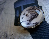 Clarice from my Dark Angel series - intrigue, mystery, decadent -  magnifying domed pin, original collage under glass.