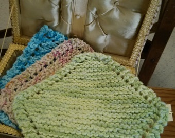 Cotton Dish Cloth with A Scrubbie Hand Knit