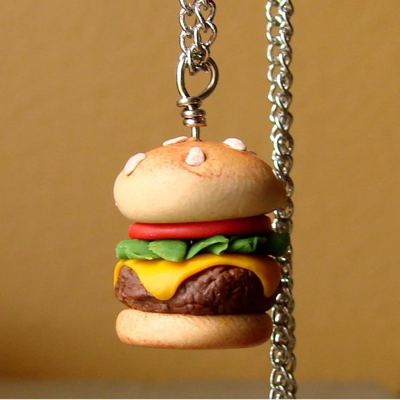 Miniature Handmade Cheeseburger Necklace - Juicy Grilled Burger