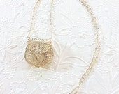 ON Hold for Tina !!!!                 Small Vintage Silver Filigree Purse On Silver Chain