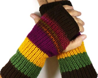 Knit Fingerless Gloves Boysenberry Fall Gloves Yellow Winter Gloves Olive Warm Gloves Winter Accessories Driving Gloves Fashion Gloves