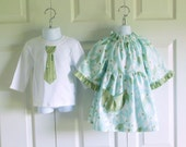 Matching Outfits Brother Sister - Betsy Dress and Boys Tie Bodysuit Tshirt - Lindy Leaf in Blue - Nicey Jane Collection