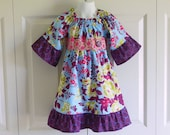 Girls Pauline Peasant Dress - purple hot pink and periwinkle dress - 6 mos to size 8 - Heirloom Collection