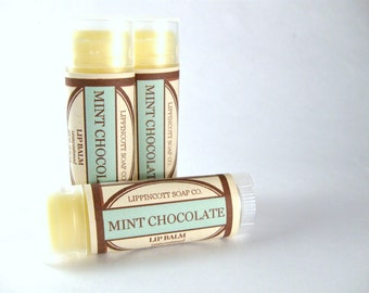 Lip Balm, Mint Chocolate Lip Balm, Unsweetened Lip Balm, Beeswax Lip Balm, Phthalate Free Lip Balm