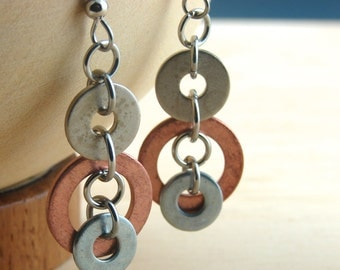 Copper Dangle Earrings Mixed Metal Hardware Jewelry Industrial Eco Friendly