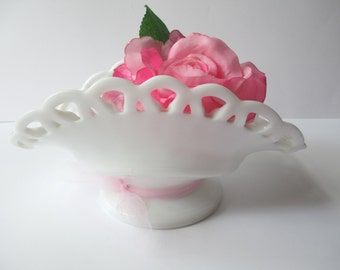Vintage Milk Glass Lacy Pedestal Dish - Wedding Decor