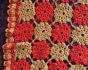 Textile Orange and Gold Doily Table Cloth, photography prop, basket stuffer Vintage Handmade