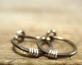 Hoop Earrings Vintage Bronze Hammered & Wrapped - Active Hoops, Everyday Hoops, Minimal Hoop Earrings, Delicate Hoop Earrings, Sleeper Hoops