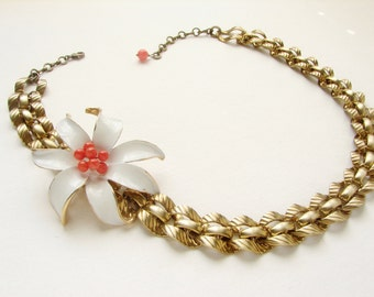 Statement necklace, vintage white enameled flower necklace, coral red chunky chain statement jewelry