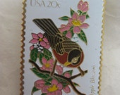 Robin Apple Blossom Stamp Brooch Lapel Pin Michigan Gold US Mail White Pink Brown