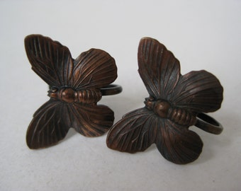 Butterfly Copper Earrings Screw Vintage Insect